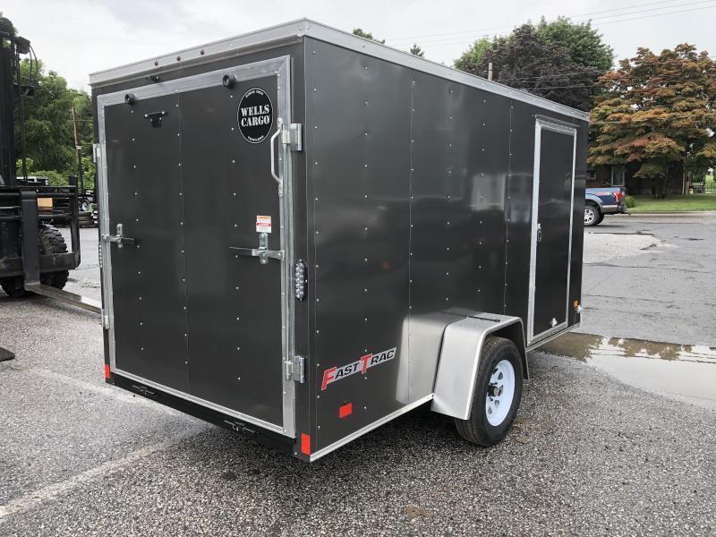 2018 Wells Cargo 6x12' Fastrac Enclosed Cargo Trailer 2990# GVW * BLACK EXTERIOR * RAMP DOOR