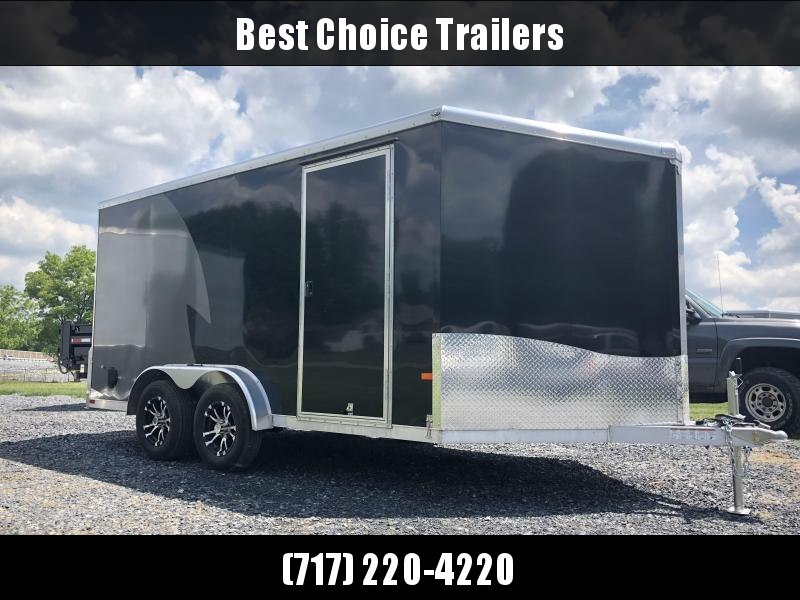 2019 Neo 7x14 NAMR Aluminum Enclosed Motorcycle Trailer * BLACK & CHARCOAL * WHITE WALLS * ALUMINUM WHEELS