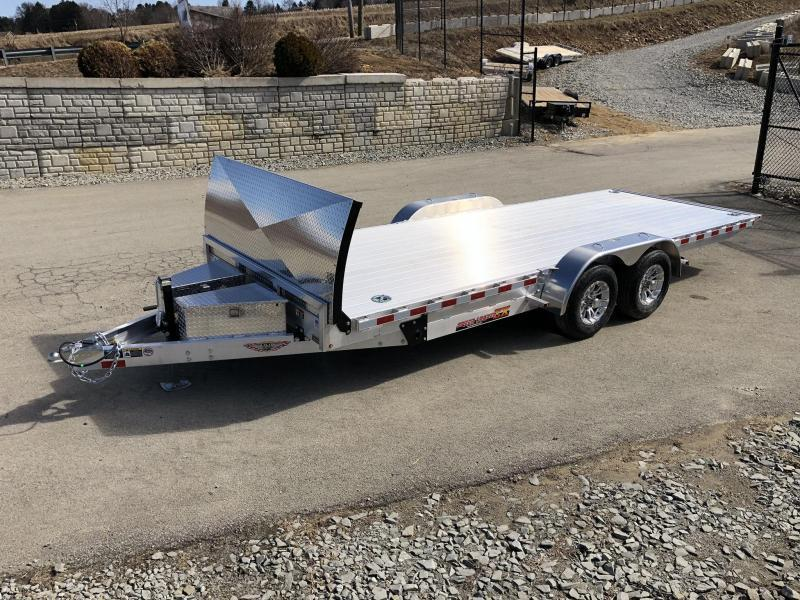 2020 H&H 7x20' Aluminum Power Tilt Car Hauler Trailer 9990# GVW * DELUXE * ROCK GUARD * DUAL TOOLBOXES * EXTRUDED FLOOR *  4 SWIVEL D-RINGS * 4 EXTRA STAKE POCKETS * WIRELESS REMOTE * SPARE & SPARE MT * WINCH PLATE