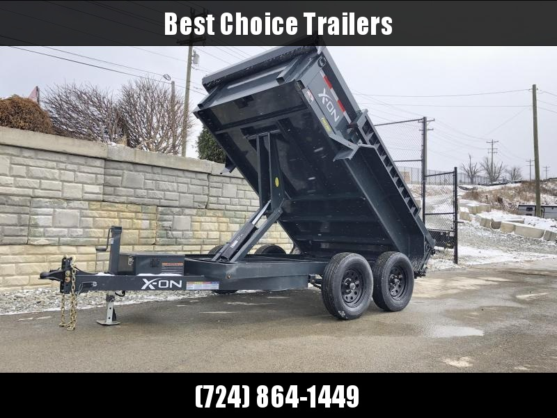2019 X-on 6X10' Low Profile Dump Trailer 7000# GVW * TARP KIT * SCISSOR * 3 WAY GATE * 10 GA SIDES & FLOOR * 110V CHARGER * CAST COUPLER * DROP LEG JACK