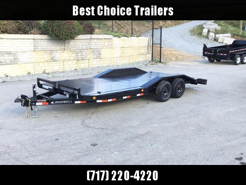 """2019 Iron Bull 102""""x20' Steel Deck Car Trailer 9990# GVW * 102"""" DECK * DRIVE OVER FENDERS * BUGGY HAULER * STEEL DECK * HD FRAME * 7000# AXLE UPGRADE * BLACK(ED) OUT FRIDAY SPECIAL - FREE ALUMINUM WHEELS"""