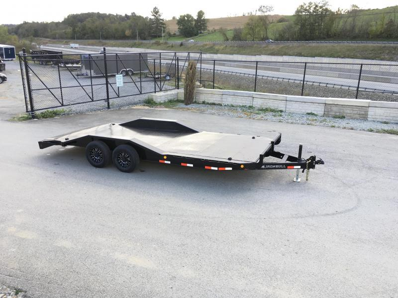 "2019 Iron Bull 102""x20' Steel Deck Car Trailer 9990# GVW * 102"" DECK * DRIVE OVER FENDERS * BUGGY HAULER * STEEL DECK * HD FRAME * 7000# AXLE UPGRADE * BLACK(ED) OUT FRIDAY SPECIAL - FREE ALUMINUM WHEELS"
