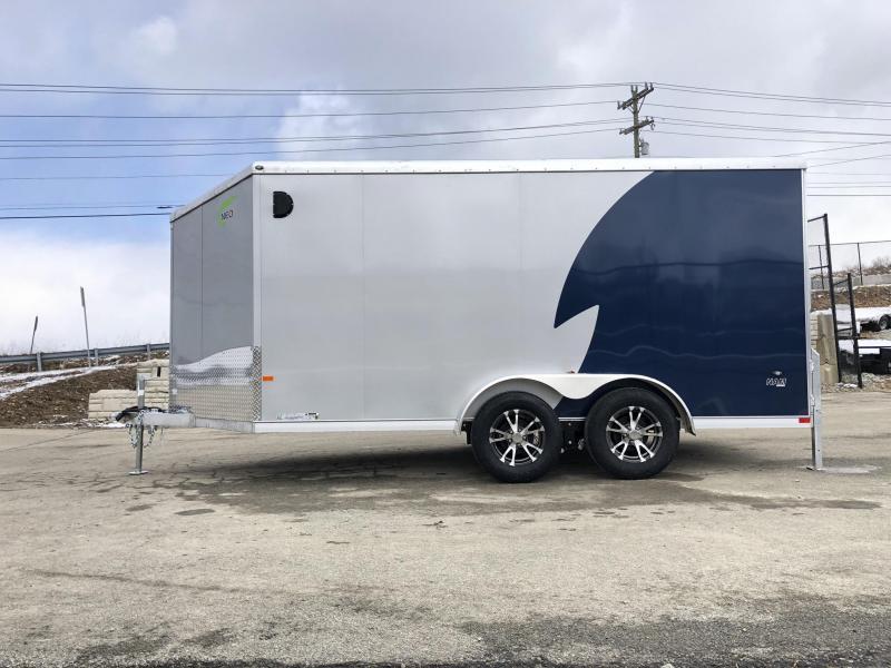 "2019 NEO Trailers 7X12' NAMR Aluminum Enclosed Motorcycle Trailer * INDIGO & SILVER * VINYL WALLS * ALUMINUM WHEELS * +6"" HEIGHT"