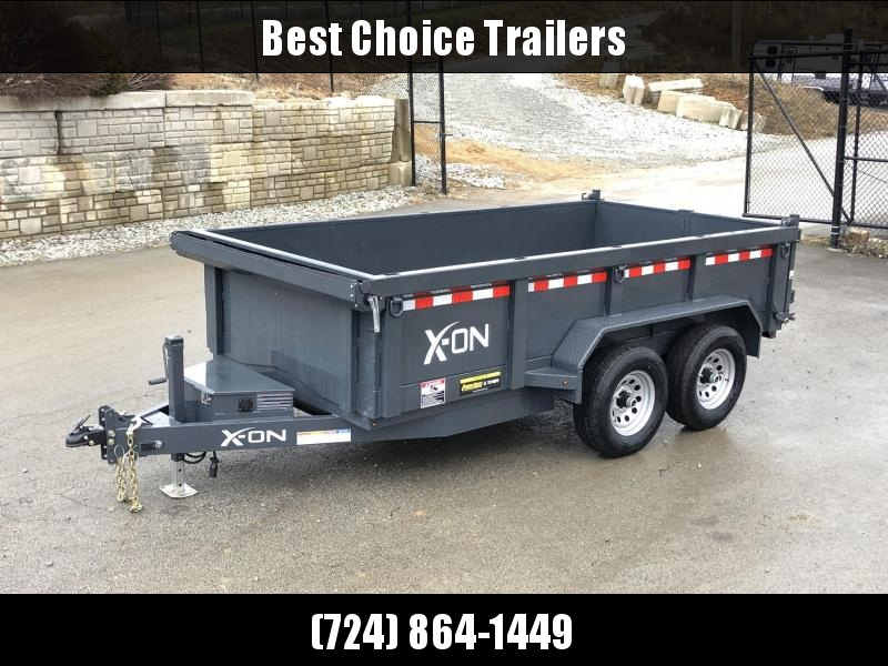 2019 X-on 6X12' Low Profile Dump Trailer 9990# GVW * TARP KIT * SCISSOR * 3 WAY GATE * 2' SIDES * 110V CHARGER * ADJUSTABLE COUPLER * DROP LEG JACK