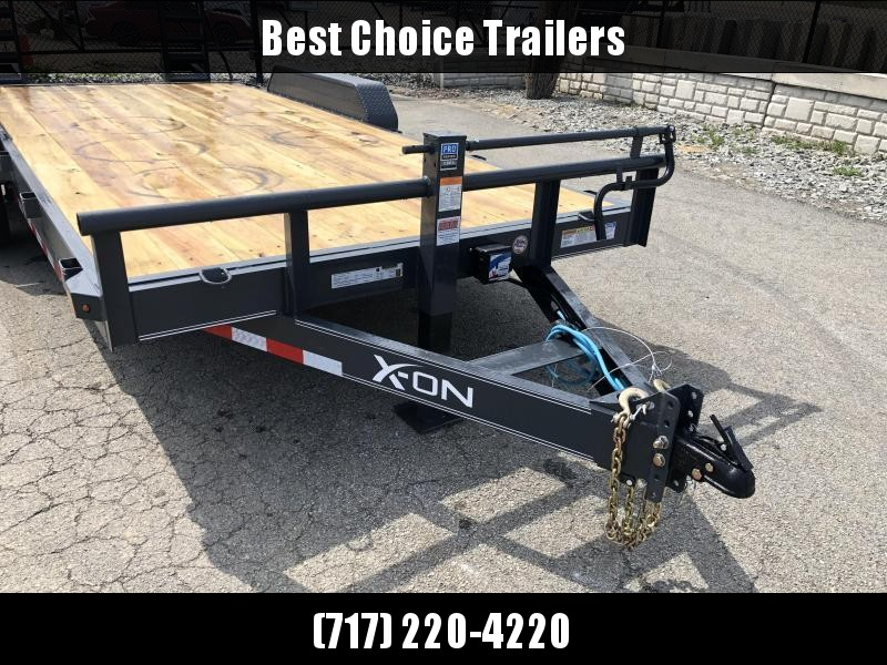 2019 X-On 7x18' Equipment Trailer 14000# GVW * CHARCOAL * STAND UP SPRING ASSIST RAMPS * 12K JACK