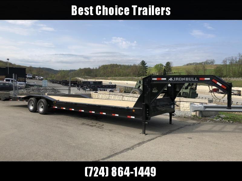 "2018 Ironbull 102x32' Gooseneck Car Hauler Equipment Trailer 14000# GVW * 102"" Deck * Drive Over Fenders * Winch plate * 4' Dovetail * CLEARANCE - FREE ALUMINUM WHEELS"