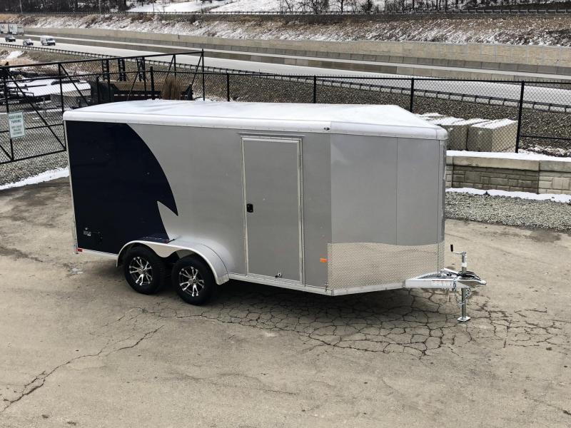 "2019 NEO Trailers 7X16' NAMR Aluminum Enclosed Motorcycle Trailer * INDIGO & SILVER * VINYL WALLS * ALUMINUM WHEELS * +6"" HEIGHT"
