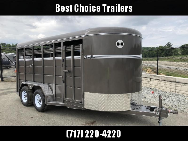 2018 CornPro 16' Livestock Trailer 7000# GVW * BEIGE * CLEARANCE - FREE ALUMINUM WHEELS