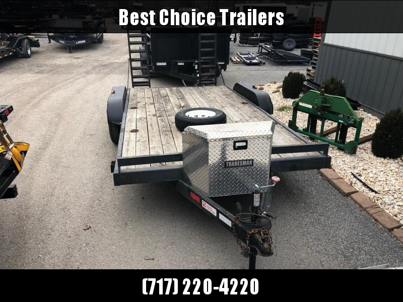 USED 2008 Hurst 7x16' 7000# Equipment Trailer * STAND UP RAMPS * TOOLBOX * SPARE TIRE