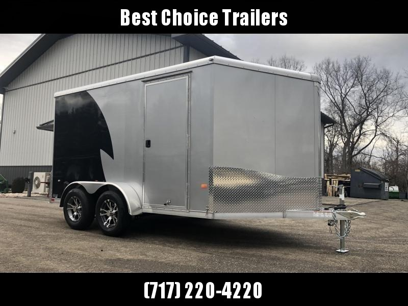 "2019 Neo 7x12 NAMR Aluminum Enclosed Motorcycle Trailer * VINYL WALLS * ALUMINUM WHEELS * +6"" HEIGHT * BLACK & SILVER"