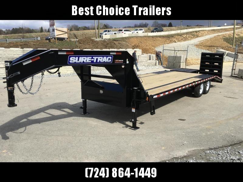 2019 Sure-Trac 102x20+5 15000# Gooseneck Beavertail Deckover Trailer PIERCED FRAME * FULL WIDTH RAMPS * CLEARANCE - FREE ALUMINUM WHEELS