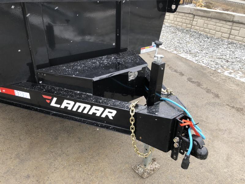 2018 Lamar 7x14' Dump Trailer 14000# GVW - STANDARD * RAMPS * SPARE MOUNT  * CLEARANCE - FREE ALUMINUM WHEELS