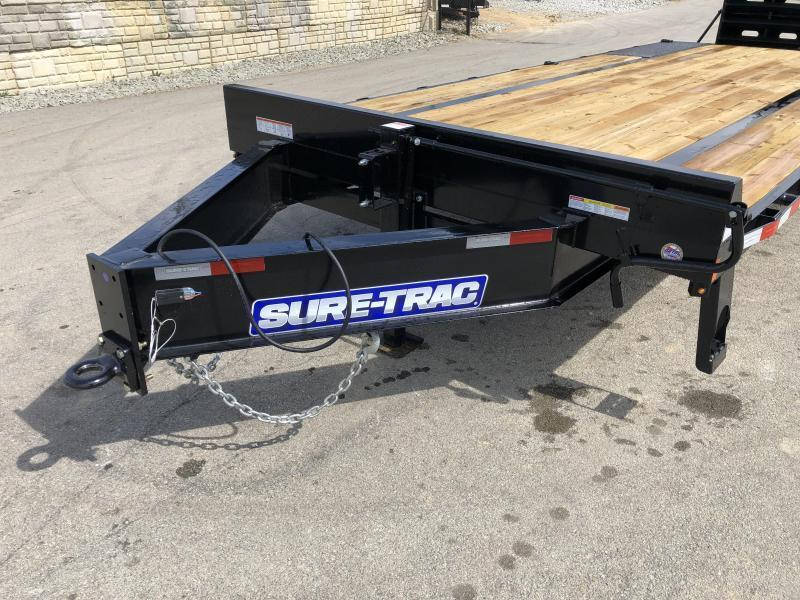 """USED 2019 Sure-Trac 102""""x20+5' LowPro Beavertail Deckover Trailer 17600# GVW * 8000# AXLES * PIERCED FRAME * FULL WIDTH RAMPS * 12"""" I-BEAM * SPARE TIRE * TOOLBOX * UNDERCOATED"""