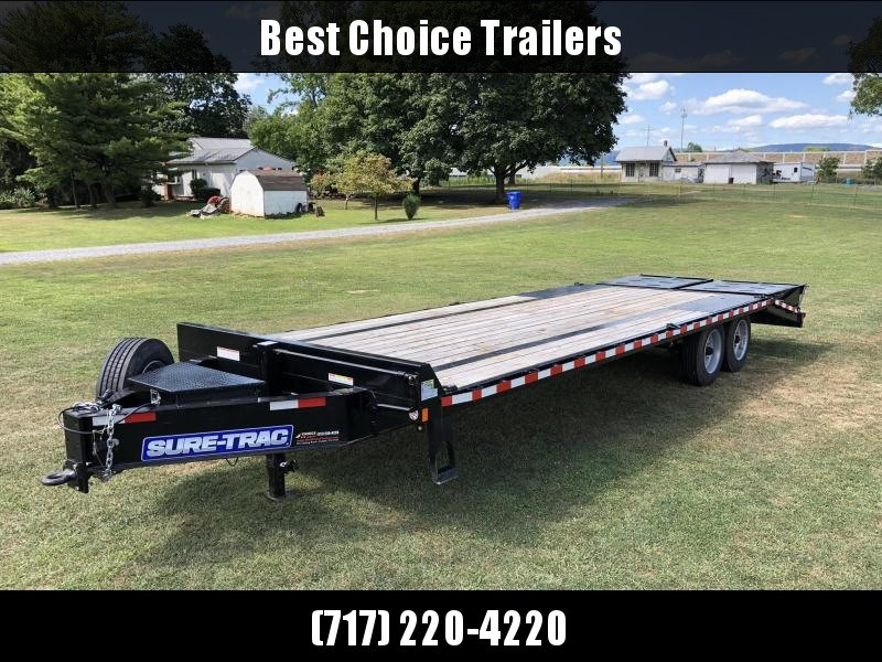 "USED 2019 Sure-Trac 102""x20+5' LowPro Beavertail Deckover Trailer 17600# GVW * 8000# AXLES * PIERCED FRAME * FULL WIDTH RAMPS * 12"" I-BEAM * SPARE TIRE * TOOLBOX * UNDERCOATED"