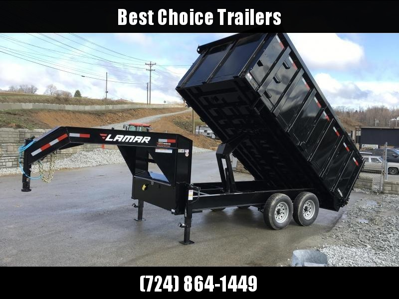 2018 Lamar 8x14' Gooseneck Deckover Dump Trailer 14000# GVW - 4' REMOVABLE SIDES * CLEARANCE + FREE ALUMINUM WHEELS