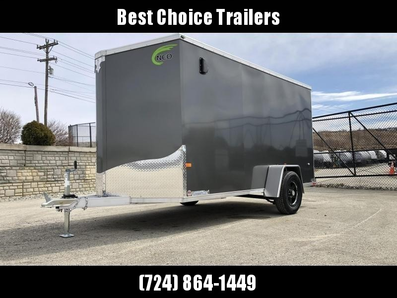 2020 Neo 6x12 NAVF Aluminum Enclosed Cargo Trailer * RAMP DOOR * CHARCOAL * ALUMINUM WHEELS