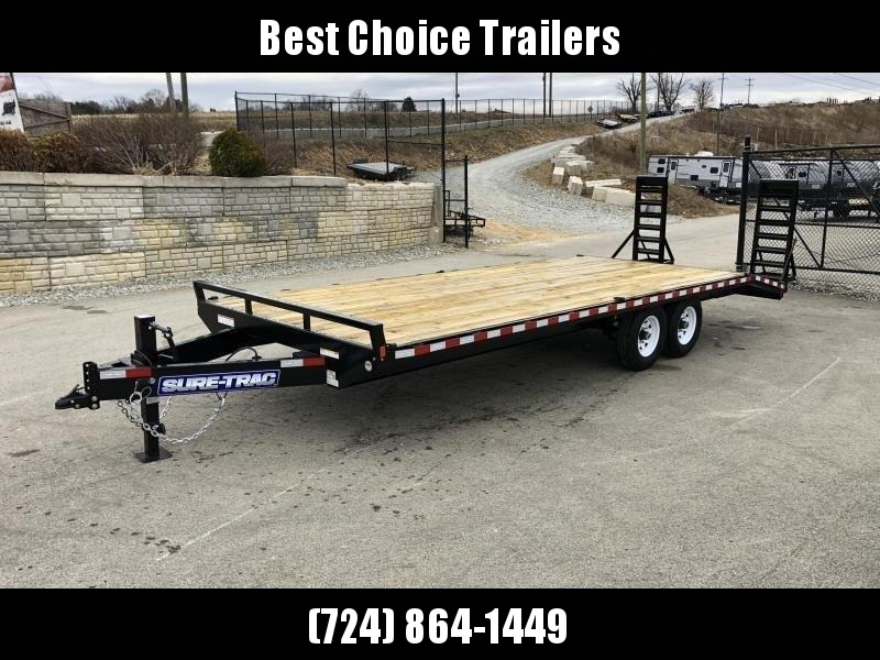 "2019 Sure Trac 102x18+4' Beavertail Deckover Trailer 15000# * ST102184SDDO-B-150 * 4"" CHANNEL STAND UP RAMPS"