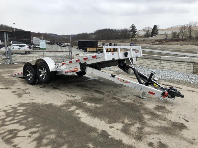 2018 H&H 7x18' Aluminum Power Tilt Car Trailer 9990# GVW * TORSION DROP AXLES * PUMP PLATE * EXTRA STAKE POCKETS * CLEARANCE