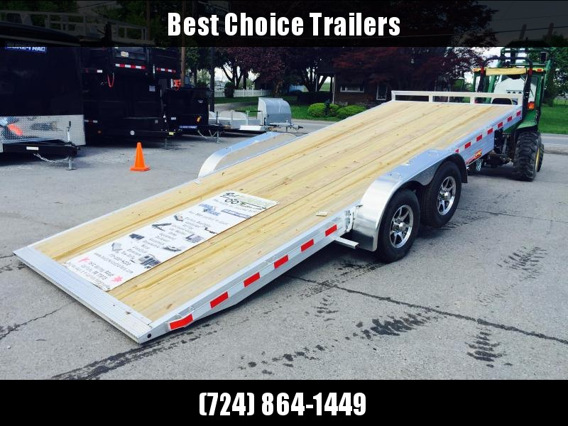 2018 H&H 7x18' Aluminum Power Tilt Car Trailer 9990# GVW * TORSION DROP AXLES * PUMP PLATE * EXTRA STAKE POCKETS