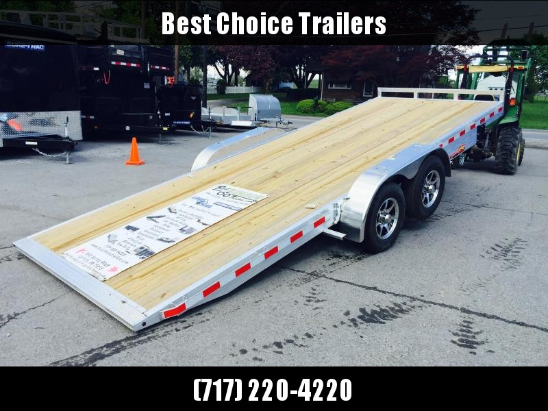 2018 H&H 7x18' Aluminum Power Tilt Car Trailer 9990# GVW * TORSION DROP AXLES * PUMP PLATE * EXTRA STAKE POCKETS * CLEARANCE