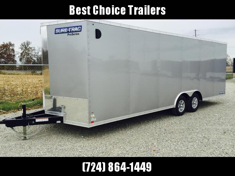 2019 Sure Trac 8.5x24' 9900# STWCH Commercial Enclosed Cargo Trailer * V-NOSE * RAMP DOOR * SILVER * ALUMINUM WHEELS * 7K DROP LEG JACK UPGRADE