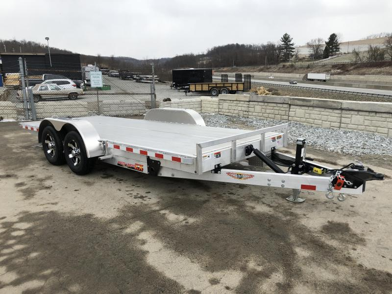 2018 H&H 7x18' Aluminum Power Tilt Car Trailer 9990# GVW - EXTRUDED ALUMINUM FLOOR