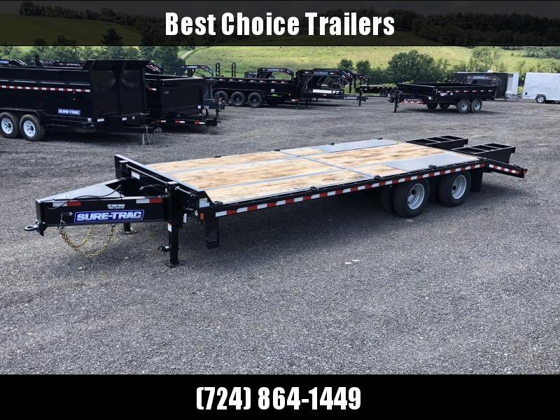 2020 Sure-Trac 102x20+5 22K Pintle Beavertail Deckover Trailer Pierced Frame OAK DECK & RAMPS PAVER TRAILER * HUTCH SUSPENSION * 12 D-RINGS * TOOLBOX * OAK RAMPS/TAIL/DECK * 2ND JACK