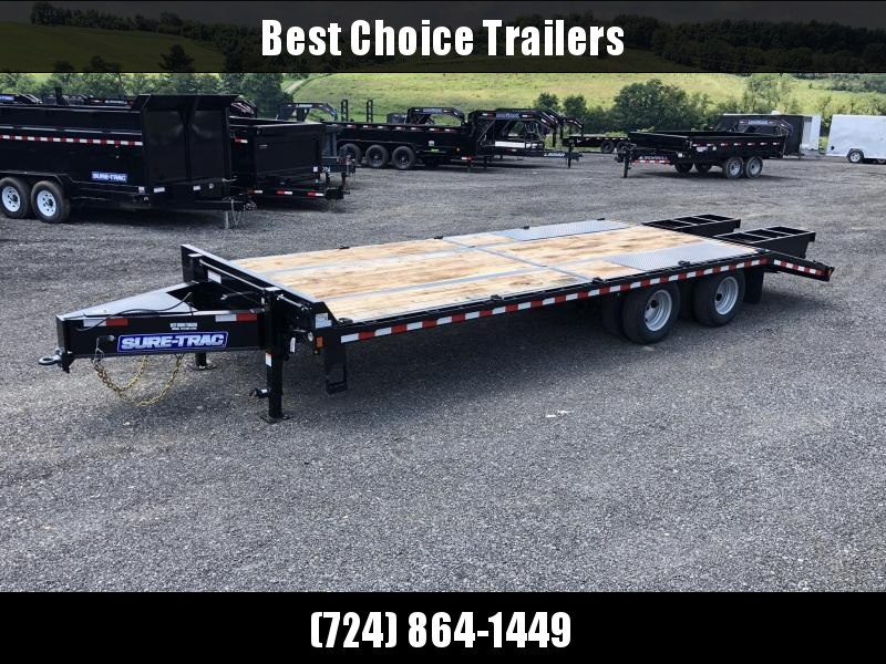 2020 Sure-Trac 102x20+5 22K Pintle Beavertail Deckover Trailer Pierced Frame OAK DECK & RAMPS PAVER TRAILER * HUTCH SUSPENSION * 12 D-RINGS * TOOLBOX * OAK RAMPS/TAIL/DECK * 2ND JACK