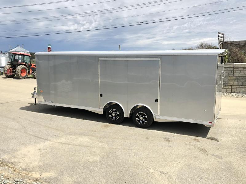2019 NEO Trailers NACX2485R Liberator Enclosed Car Trailer 9990# GVW SILVER * FULL ESCAPE DOOR * EXTRUDED ALUMINUM FLOOR/RAMP * 5200# TORSION * BULLNOSE * SPREAD AXLE * DRT REAR SPOILER * NXP RAMP