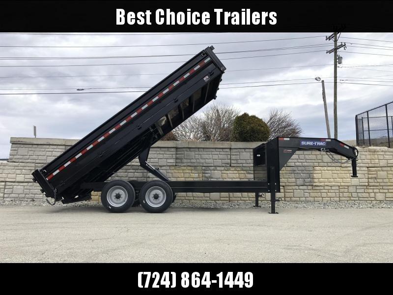 2019 Sure-Trac 7x16' 16000# Low Profile HD GOOSENECK Dump Trailer * TELESCOPIC HOIST * 8000# AXLE UPGRADE