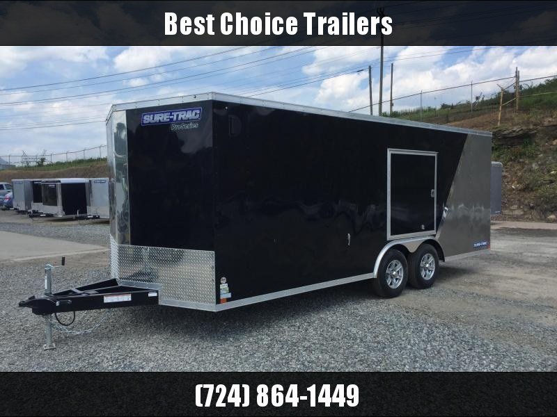 2017 Sure-Trac 8.5x24' 9900# STWCH Commercial Enclosed Cargo Trailer RAMP DOOR BLACK/PEWTER ALUMINUM WHEELS TORSION ESCAPE HATCH FINISHED FLOOR AND WALLS 2-TONE