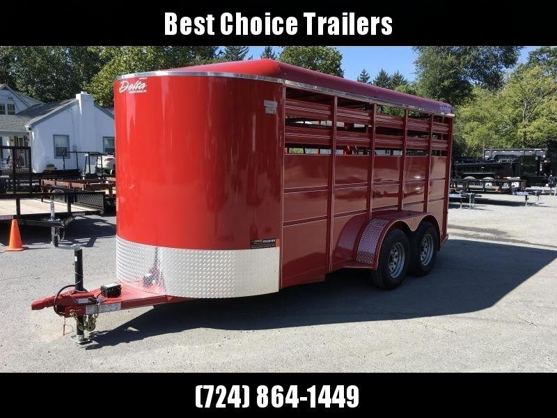 2019 Delta 16' Livestock Trailer 7000# GVW * RED * CENTER GATE * ESCAPE DOOR * DEXTER