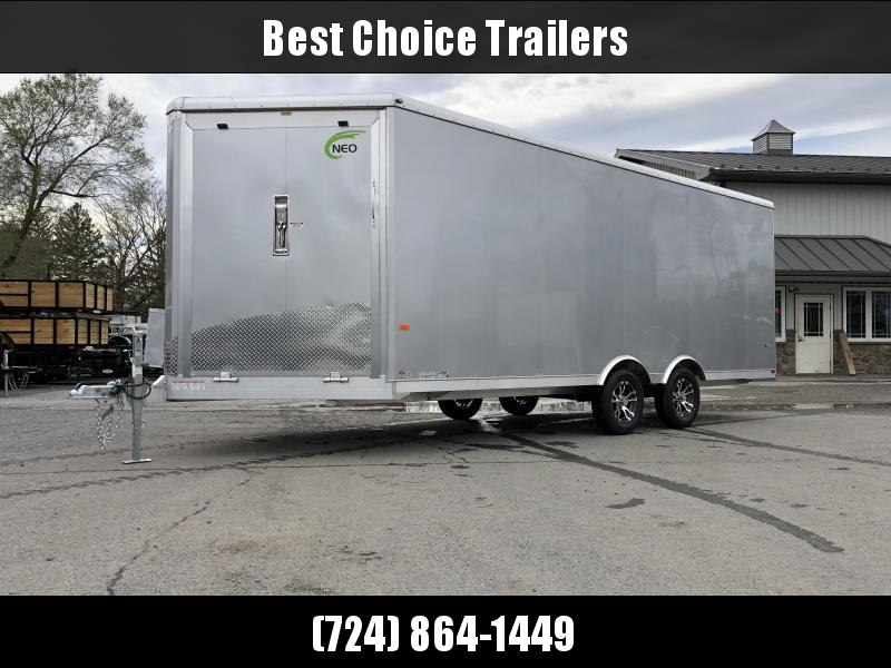 2019 NEO Aluminum 8.5x20' 7000# Multi-Sport/Enclosed Car Trailer NMS2085 * FRONT RAMP * WHITE VINYL WALLS * ALUMINUM WHEELS * SILVER EXTERIOR * UTV HAULER