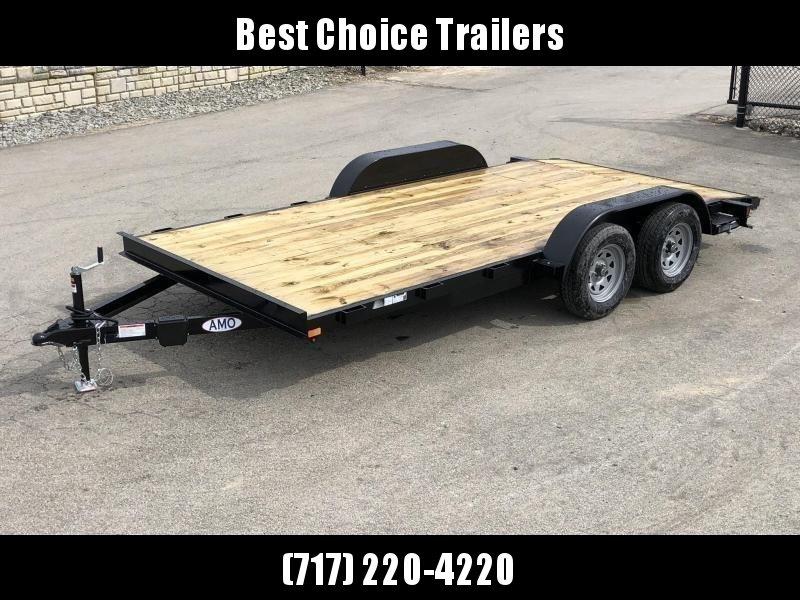 2019 AMO 7x16' Wood Deck Car Trailer 7000# GVW * LED TAIL LIGHTS