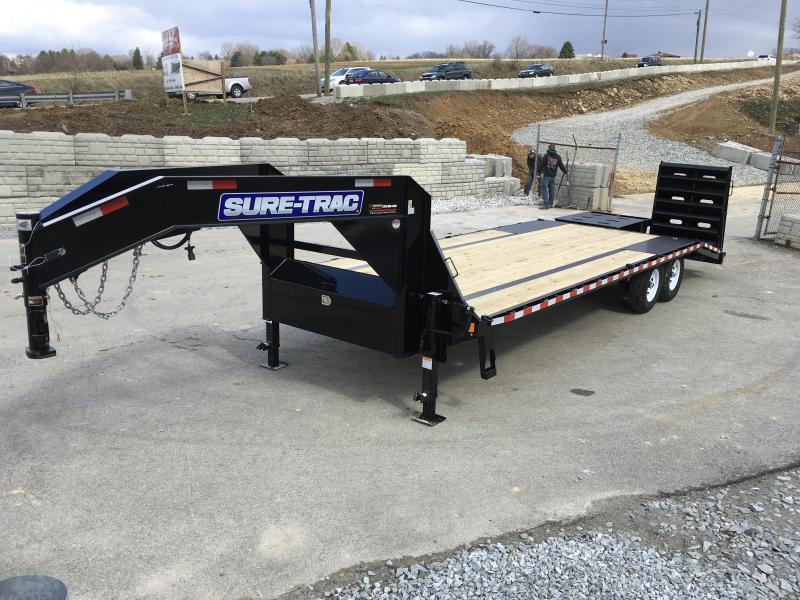2019 Sure-Trac 102x20+5 15000# Gooseneck Beavertail Deckover Trailer PIERCED FRAME * FULL WIDTH RAMPS
