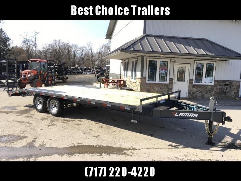 2019 Lamar F8 102x22' Beavertail Deckover Trailer 14000# GVW * STAND UP RAMPS  * CHARCOAL
