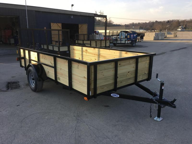 "2019 AMO 76""x12' Wood Side Angle Iron Utility Landscape Trailer 2990# GVW"
