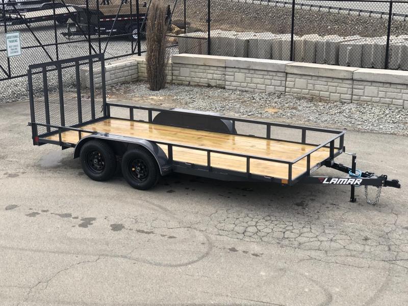 "2019 Lamar 77""x16' Utility Landscape Trailer 7000# GVW * CHARCOAL * HD GATE W/ SPRING ASSIST"