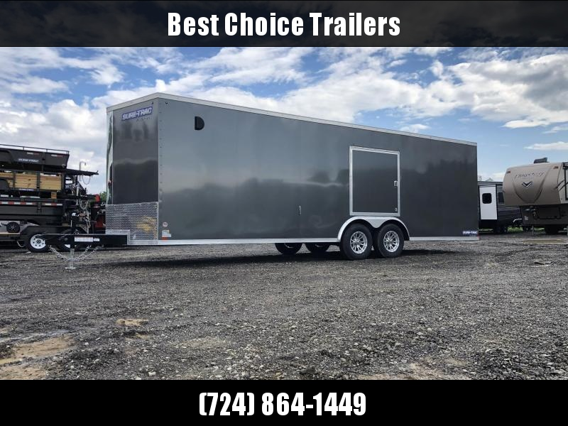 "2019 Sure-Trac 8.5x24' Enclosed Car Trailer 9900# GVW * DELUXE * CHARCOAL * SCREWLESS EXTERIOR * 7K JACK * ESCAPE HATCH * FINISHED WALLS * NUDO FLOOR & RAMP * TORSION * 48"" DOOR & MORE"
