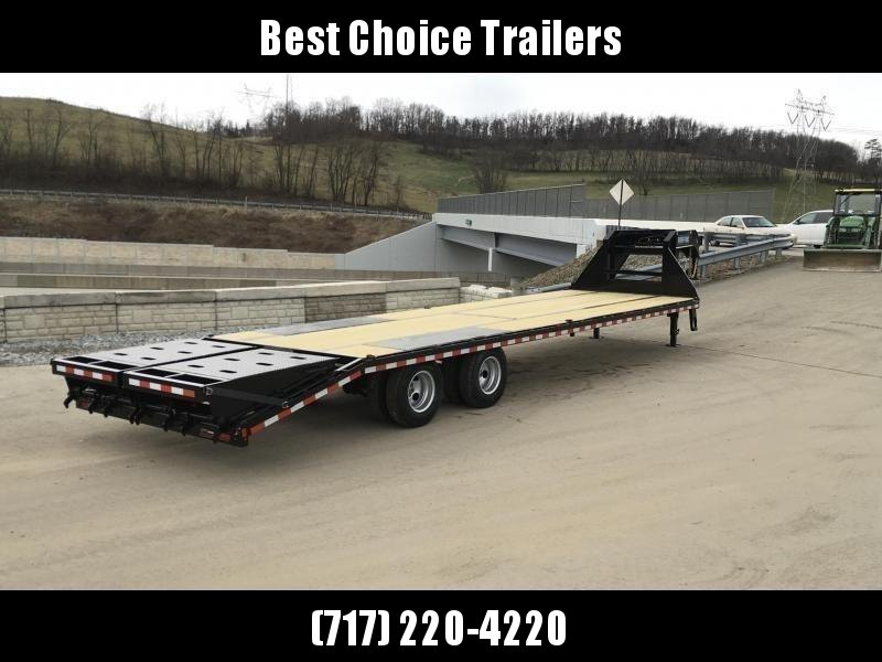 USED 2019 Sure-Trac 102x27+5 22K Gooseneck Beavertail Deckover Trailer * PIERCED FRAME * FULL WIDTH RAMPS