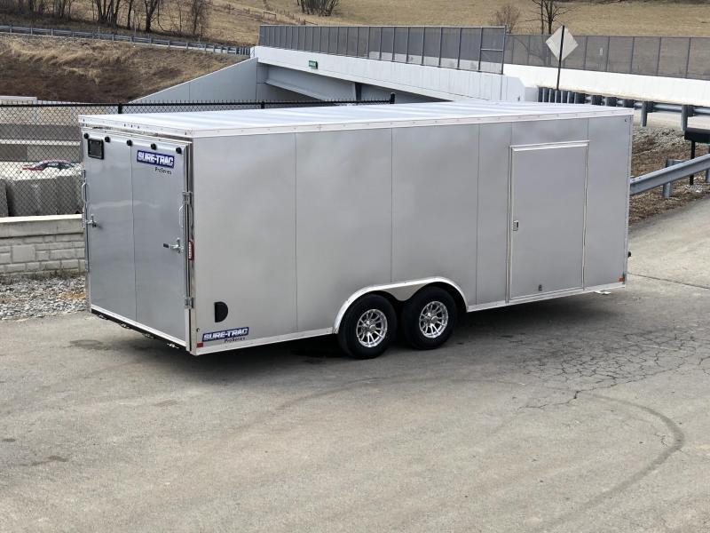 2019 Sure-Trac 8.5x20' Enclosed Car Trailer 9900# GVW * SILVER * 7K DROP LEG JACK
