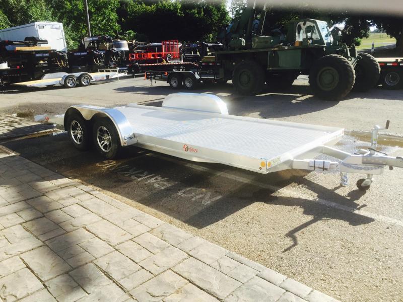 2018 Kiefer 7x20' 7000# Aluminum Car Hauler TORSION EXTRUDED FLOOR ALUMINUM WHEELS LOW LOAD ANGLE 6' RAMPS