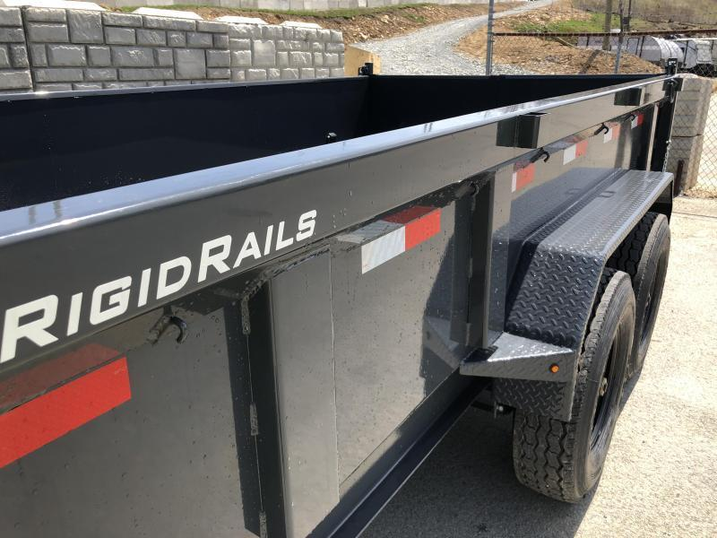2018 Lamar 7x12' Dump Trailer 14000# GVW - DELUXE * TARP * RAMPS * SPARE MOUNT * 14-PLY TIRE UPGRADE *  12K JACK *  CHARCOAL WITH BLACK WHEELS * REAR SUPPORT STANDS * INTEGRATED VOLTAGE METER * OIL BATH * CLEARANCE