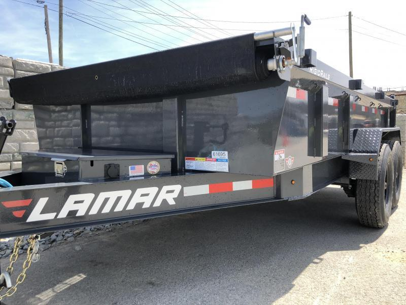 2018 Lamar 7x14' Dump Trailer 14000# GVW - DELUXE * TARP * RAMPS * SPARE MOUNT *  12K JACK *  CHARCOAL WITH BLACK WHEELS * CLEARANCE - FREE ALUMINUM WHEELS