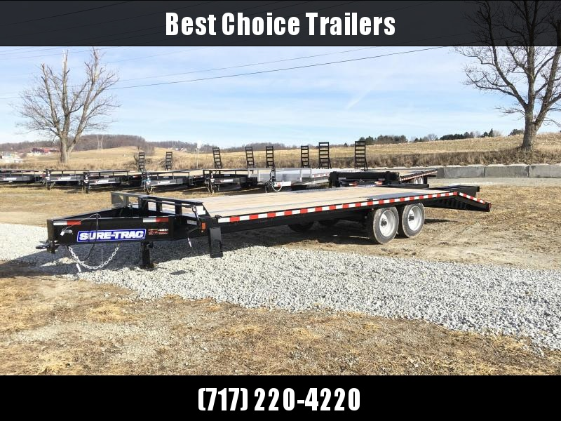 "2018 Sure-Trac 102""x20+5' LowPro Beavertail Deckover Trailer 17600# GVW - PIERCED FRAME * FULL WIDTH RAMPS"