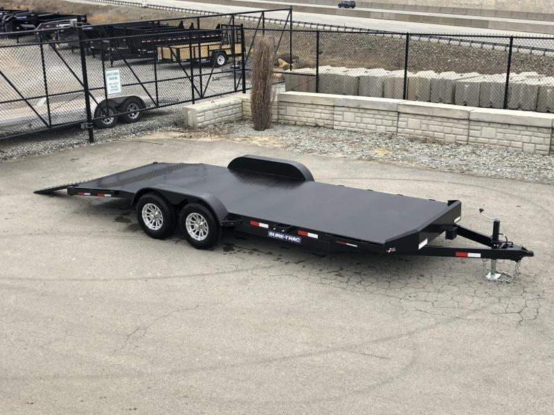2019 Sure-Trac 7x20' Steel Deck Car Hauler 9900# GVW * 4' BEAVERTAIL - LOW LOAD ANGLE * ALUMINUM WHEELS