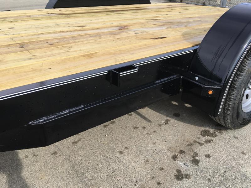 2019 Lamar 7x16 7000# Wood Deck Car Hauler Trailer * ADJUSTABLE COUPLER * DROP LEG JACK * REMOVABLE FENDERS * EXTRA STAKE POCKETS * CHARCOAL