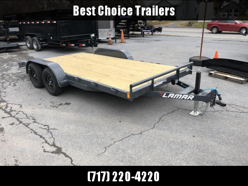 2019 Lamar 7x16 7000# Wood Deck Car Hauler Trailer * ADJUSTABLE COUPLER * DROP LEG JACK * REMOVABLE FENDERS * EXTRA STAKE POCKETS * CHARCOAL