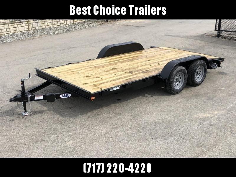 2019 AMO 7x18' Wood Deck Car Trailer 7000# GVW * LED TAIL LIGHTS in Ashburn, VA