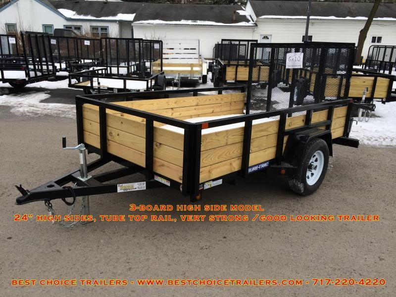 2018 Sure-Trac 5x10' Tube Top 3-Board High Side Utility Landscape Trailer 2990# GVW